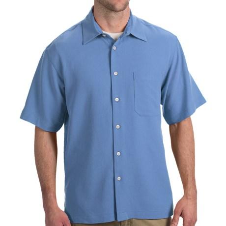 Toscano Silk Shirt - Short Sleeve (For Men) in Sky