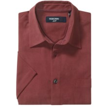 Toscano Solid Waffle Shirt - Silk, Short Sleeve (For Men) in Rosewood - Closeouts