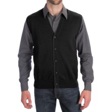 Toscano Tipped Merino Wool Sweater Vest - Zegna Barrufa, Button Front (For Men) in Black - Closeouts