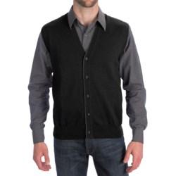 Toscano Tipped Merino Wool Sweater Vest - Zegna Barrufa, Button Front (For Men) in Brown Melange