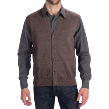 Toscano Tipped Merino Wool Sweater Vest - Zegna Barrufa, Button Front (For Men) in Brown Melange - Closeouts