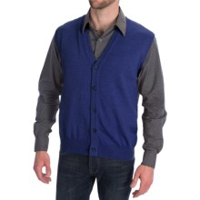 Toscano Tipped Merino Wool Sweater Vest - Zegna Barrufa, Button Front (For Men) in Cosmos Melange - Closeouts