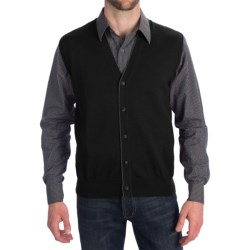 Toscano Tipped Merino Wool Sweater Vest - Zegna Barrufa, Button Front (For Men) in Dark Midnight