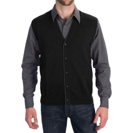 Toscano Tipped Merino Wool Sweater Vest - Zegna Barrufa, Button Front (For Men) in Dark Midnight