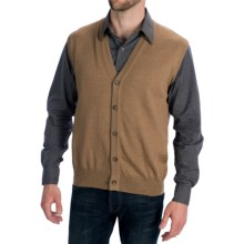 Toscano Tipped Merino Wool Sweater Vest - Zegna Barrufa, Button Front (For Men) in Nougat - Closeouts