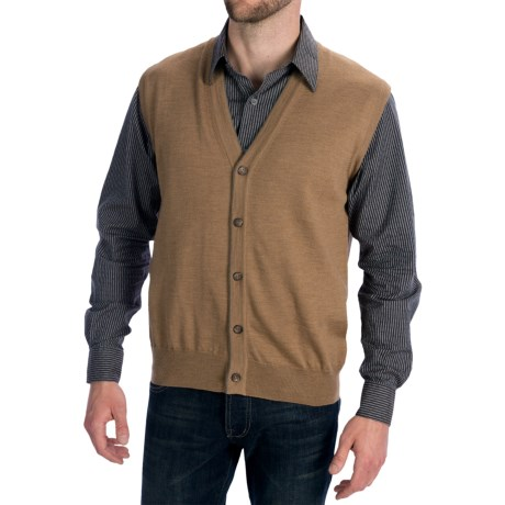 Toscano Tipped Merino Wool Sweater Vest - Zegna Barrufa, Button Front (For Men) in Nougat