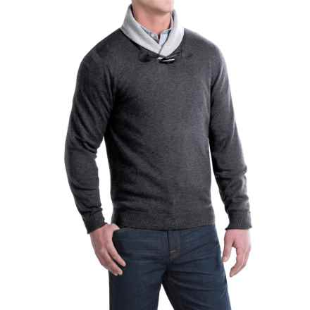 Toscano Toggle Shawl Collar Sweater - Merino-Acrylic (For Men) in Shadow Melange - Closeouts