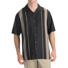 Toscano Twill Shirt - Silk-Rayon, Contrast Color, Short Sleeve (For Men) in Black/Taupe - Closeouts