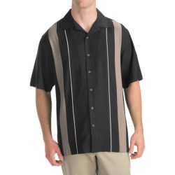 Toscano Twill Shirt - Silk-Rayon, Contrast Color, Short Sleeve (For Men) in Seashell W/Brick Embroidery