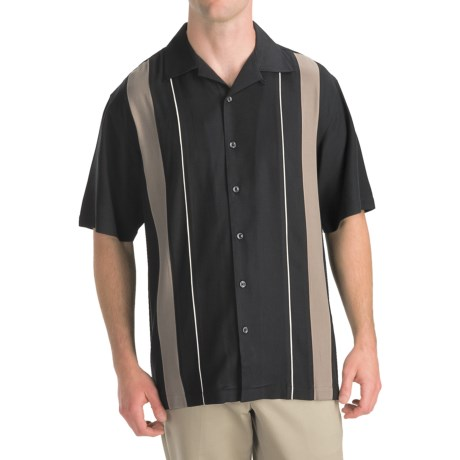 Toscano Twill Shirt - Silk-Rayon, Contrast Color, Short Sleeve (For Men) in Seashell/Taupe