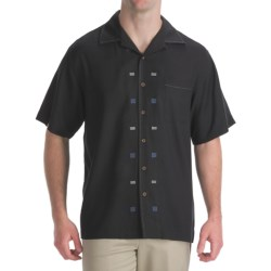 Toscano Twill Shirt - Silk-Rayon, Contrast Color, Short Sleeve (For Men) in Seashell W/Taupe/Tan/Black Stripe