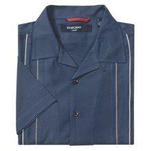 Toscano Twill Shirt - Silk-Rayon, Contrast Color, Short Sleeve (For Men) in Blue/Grey - Closeouts