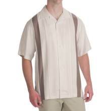 Toscano Twill Shirt - Silk-Rayon, Contrast Color, Short Sleeve (For Men) in Seashell/Taupe - Closeouts
