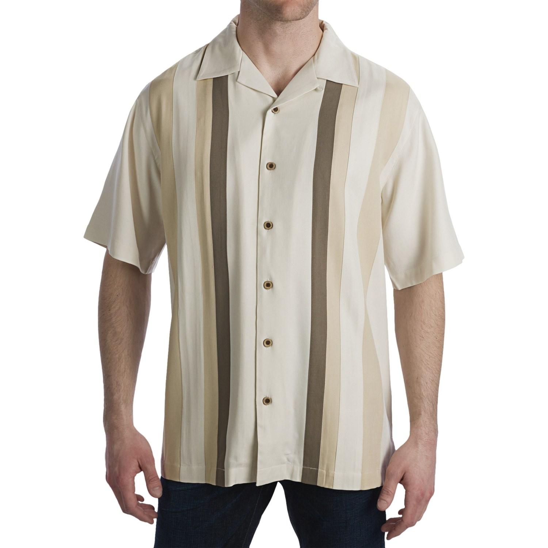 Toscano Twill Shirt Silk Rayon Contrast Color Short
