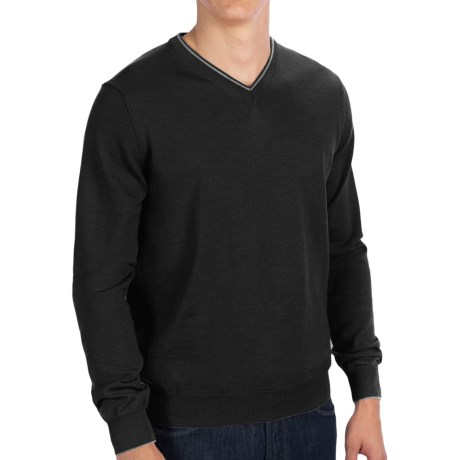 Toscano V-Neck Sweater - Merino Wool (For Men) in Black