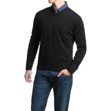 Toscano V-Neck Sweater - Merino Wool (For Men) in Black - Closeouts