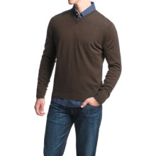 Toscano V-Neck Sweater - Merino Wool (For Men) in Brown Melange - Closeouts