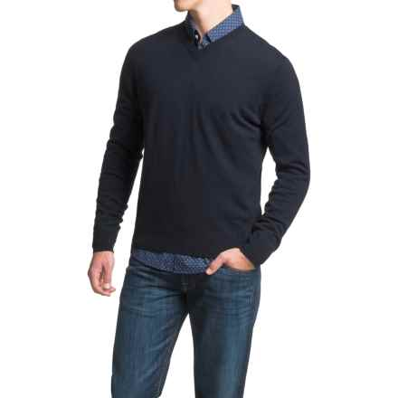 Toscano V-Neck Sweater - Merino Wool (For Men) in Dark Midnight - Closeouts