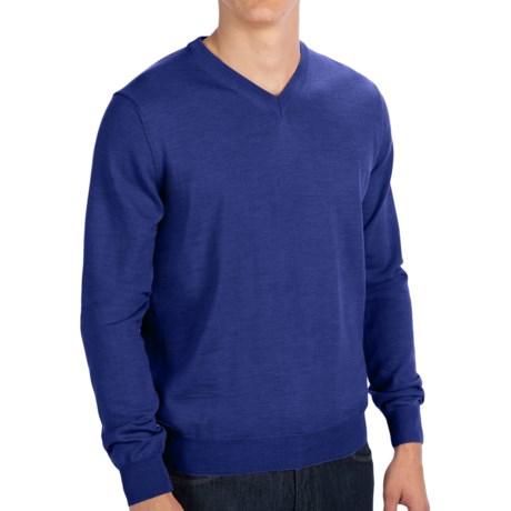 Toscano V-Neck Sweater - Merino Wool (For Men) in Black