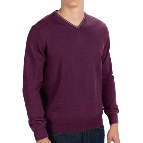 Toscano V-Neck Sweater - Merino Wool (For Men) in Pompeii Melange