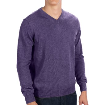Toscano V-Neck Sweater - Merino Wool (For Men) in Purple