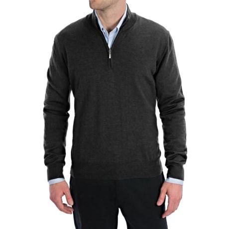Toscano Zip Mock Neck Sweater - Merino Wool (For Men) in Black