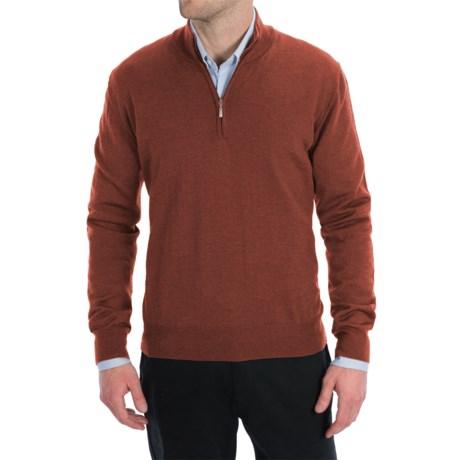 Toscano Zip Mock Neck Sweater - Merino Wool (For Men) in Burnt Melange