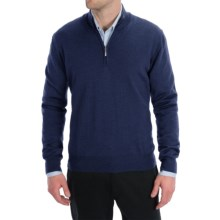 Toscano Zip Mock Neck Sweater - Merino Wool (For Men) in Cosmos Melange - Closeouts