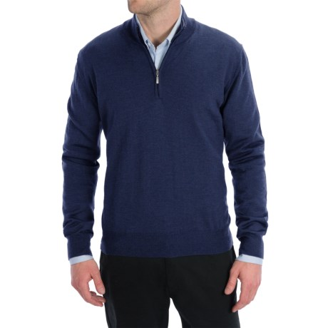 Toscano Zip Mock Neck Sweater - Merino Wool (For Men) in Cosmos Melange