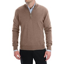 Toscano Zip Mock Neck Sweater - Merino Wool (For Men) in Fossil - Closeouts