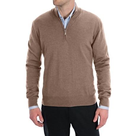 Toscano Zip Mock Neck Sweater - Merino Wool (For Men) in Shadow Melange