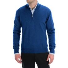 Toscano Zip Mock Neck Sweater - Merino Wool (For Men) in Ink Blue Melange - Closeouts