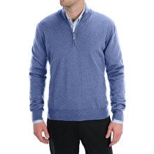 Toscano Zip Mock Neck Sweater - Merino Wool (For Men) in Ocean - Closeouts