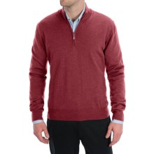 Toscano Zip Mock Neck Sweater - Merino Wool (For Men) in Red - Closeouts