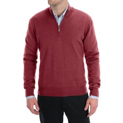 Toscano Zip Mock Neck Sweater - Merino Wool (For Men) in Red