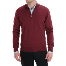 Toscano Zip Mock Neck Sweater - Merino Wool (For Men) in Rio Red Melange - Closeouts