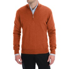 Toscano Zip Mock Neck Sweater - Merino Wool (For Men) in Rust Melange - Closeouts