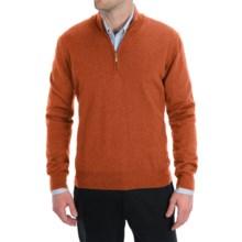 Toscano Zip Mock Neck Sweater - Merino Wool (For Men) in Rust - Closeouts