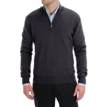 Toscano Zip Mock Neck Sweater - Merino Wool (For Men) in Shadow Melange - Closeouts