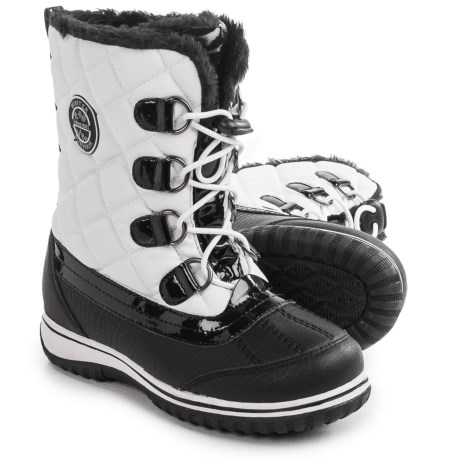totes Quilted Pac Boots - Waterproof (For Little and Big Girls) in White/Black