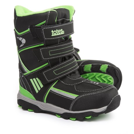 totes Seth Snow Boots (For Little and Big Boys) in Black/Lime