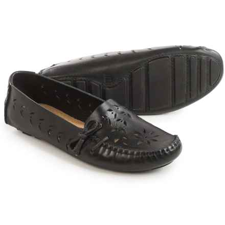 Tower 10 Sage Perforated Leather Moccasins (For Women) in Black - Closeouts