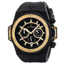 Toy Watch Toystrong Chrono Silicone Watch (For Men) in Black/Gold/Black - Closeouts