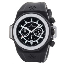 Toy Watch Toystrong Chrono Silicone Watch (For Men) in Black/Silver/Black - Closeouts