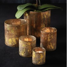 Tozai Gilt Mercury Glass Candle Holders - Set of 5 in Gold Mercury - Closeouts