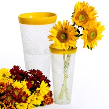 Tozai Glass Studio Tapered Vases - Set of 2 in Yellow Rim - Closeouts