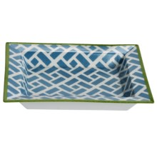 Tozai Home Geometric Brick Decorative Porcelain Tray - Hand-Painted Pattern in Blue / Olive - Closeouts