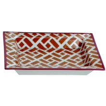 Tozai Home Geometric Brick Decorative Porcelain Tray - Hand-Painted Pattern in Orange / Magenta - Closeouts