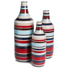 Tozai Spiral Wheeled Bottle Vases - Hand Painted by Richard Mishaan in Multi - Closeouts