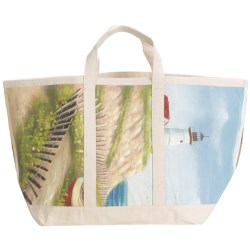 Tozai Studio Artist Hand-Painted Canvas Beach/Tote Bag in Lighthouse